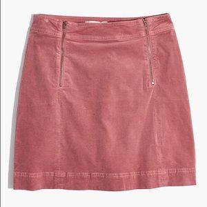 Madewell Velveteen Uptown Zip Skirt